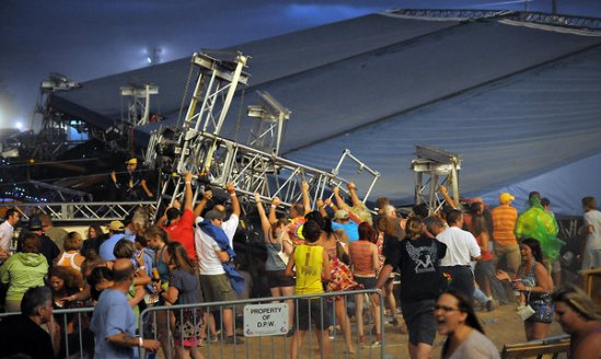 The scene at the Indiana State Fair, where a stage collapsed on Aug. 13, 2011. Picture: Matt Kryger/The Indianapolis Star, via Associated Press