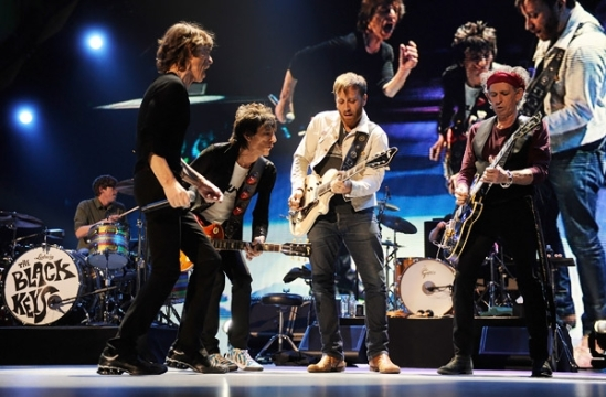 The Black Keys perform with The Rolling Stones at the Prudential Center on December 15th, 2012 in Newark, New Jersey.