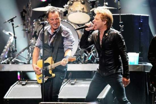 Bruce Springsteen and Jon Bon Jovi performing at the 12-12-12 Sandy relief concert @ MSG, NYC