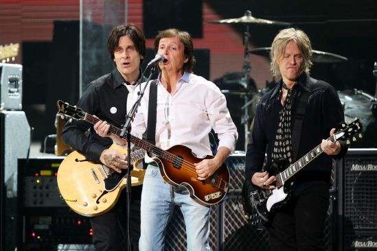 Paul McCartney and his band performing at the 12-12-12  Sandy relief concert @ MSG