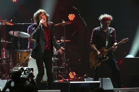 The Rolling Stones performing at the 12-12-12 Sandy relief concert at the MSG