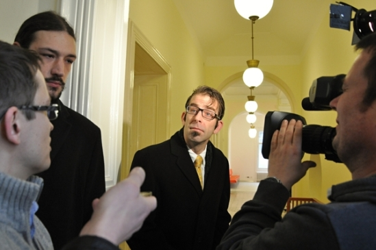 Randy Blythe of Lamb of God attends a trial at the Prague City Court in Prague, Czech Republic. Photo:isifa/VLP/Milan Holakovsky/Getty Images