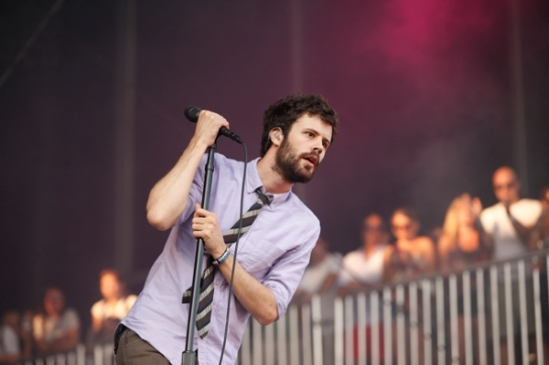 Michael Angelakos during Passion Pit's main stage debut at Lollapalooza. Photo: Alex Reside