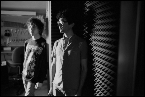 Andrew VanWyngarden and Ben Goldwasser of MGMT in the studio. Photo: Danny Clinch