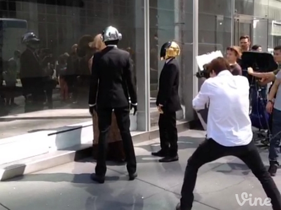 Daft Punk filming a video in New York City