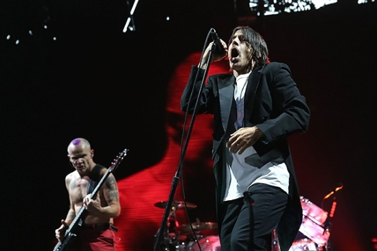 """Michael """"Flea"""" Balzary and Anthony Kiedis of Red Hot Chili Peppers perform at WFAN's Big Hello To Brooklyn at Barclays Center of Brooklyn on February 1st, 2014 in New York City."""