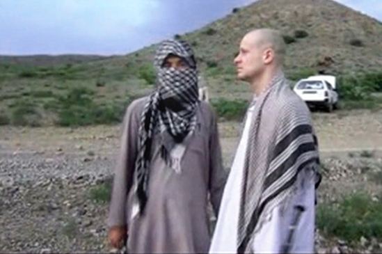 A video still shows the handover of Sgt. Bowe Bergdahl (right) to U.S. forces in eastern Afghanistan. AP Photo/Voice Of Jihad Website via AP video Read more: http://www.rollingstone.com/politics/news/four-myths-about-the-bowe-bergdahl-swap-that-must-be-destroyed-20140605#ixzz33tLrzDiJ Follow us: @rollingstone on Twitter | RollingStone on Facebook