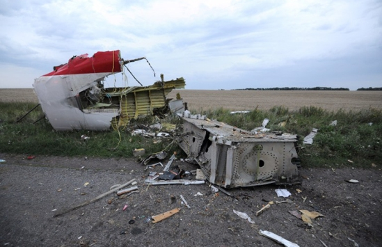 A picture taken on July 17, 2014 shows the wreckages of the malaysian airliner carrying 295 people from Amsterdam to Kuala Lumpur after it crashed, near the town of Shaktarsk. (AFP Photo / Dominique Faget)