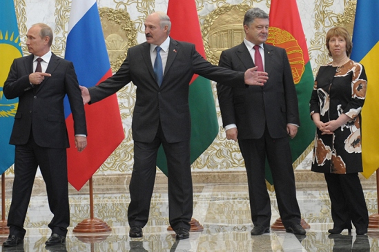 August 26, 2014. President of Russia Vladimir Putin, President of Belarus Alexander Lukashenko, President of Ukraine Petro Poroshenko and EU High Commissioner for Foreign Affairs and Security Policy Catherine Ashton (from left to right) being photographed before the beginning of the meeting of the presidents of the Customs Union countries with the Ukrainian president and representatives of the European Commission (RIA Novosti / Alexey Druzhinin)