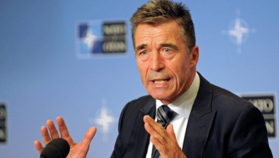 NATO Secretary-General Anders Fogh Rasmussen speaks during a news conference at the Residence Palace in Brussels September 1, 2014.