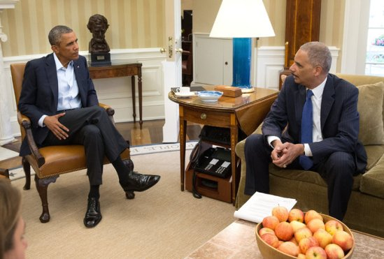 Attorney General Eric H. Holder Jr. during a meeting with President Obama last month at the White House. Credit Doug Mills/The New York Times