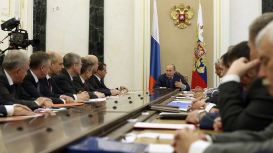 President Vladimir Putin (center) holding a meeting with Russian Security Council permanent members, July 22, 2014. (RIA Novosti / Ekaterina Shtukina)