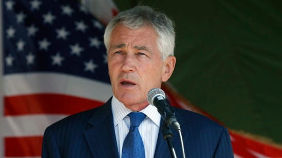 U.S. Defense Secretary Chuck Hagel speaks at the Krtsanisi military training base outside Tbilisi September 7, 2014. (Reuters/David Mdzinarishvili)