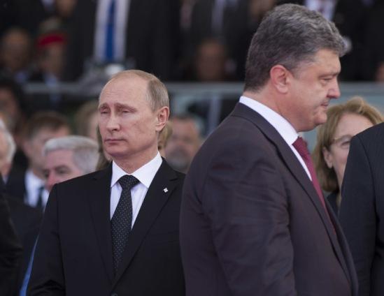 June 6, 2014. President Vladimir Putin (left) and Ukrainian President-Elect Petro Poroshenko (RIA Novosti/Sergey Guneev)