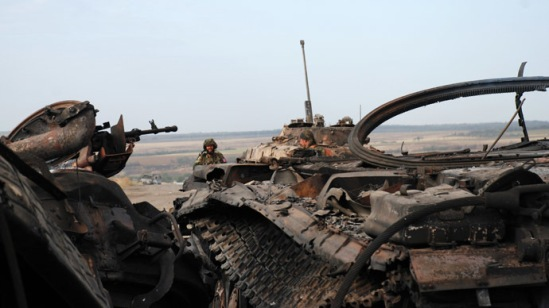 Destroyed Ukrainian military equipment in the village of Novoyekaterinovka near Komsomolsk. (RIA Novosti/Gennady Dubovoy)