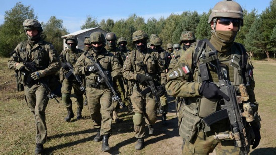 Polish servicemen take part in military exercises outside the town of Yavoriv near Lviv, September 19, 2014. (Reuters/Roman Baluk)