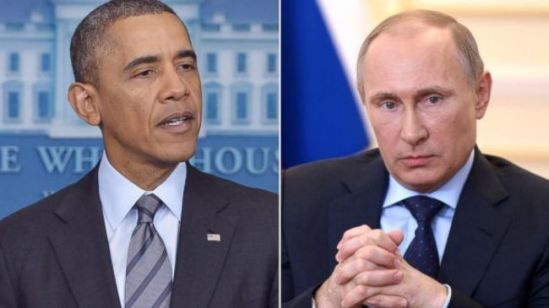 ussian President Vladimir Putin (R) and his American opposite number Barack Obama
