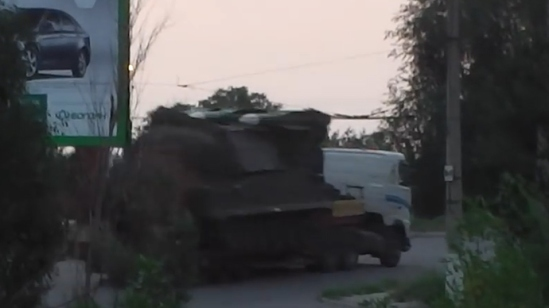 Screenshot from video posted on Ukraine's Ministry of Interior account, showing a Buk system supposedly being moved from Ukraine to Russia with two out of three missiles.