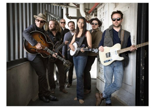Pictured: Elvis Costello, Jim James,T Bone Burnett, Jay Bellerose, Rhiannon Giddens, Marcus Mumford, Taylor Goldsmith. Photo Credit: Sam Jones/Showtime © 2014 Showtime Networks Inc