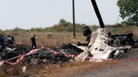A Malaysian air crash investigator works at a crash site of the Malaysia Airlines Flight MH17 near the village of Hrabove (Grabovo), Donetsk region July 24, 2014 (Reuters/Maxim Zmeyev)