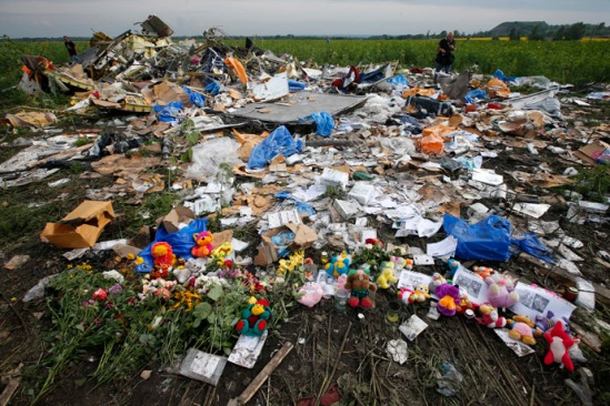 Flowers and mementos left by local residents at the crash site of Malaysia Airlines Flight MH17 are pictured near the settlement of Rozspyne in the Donetsk region July 19, 2014. (Reuters/Maxim Zmeyev)