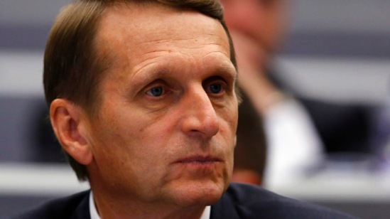 Russia's Speaker of the State Duma Sergei Naryshkin pauses before the opening session at the OSCE Parliamentary Assembly Autumn meeting in Geneva October 3, 2014. (Reuters/Denis Balibouse)
