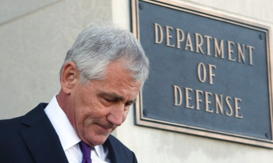 Privately, one official confirmed that Chuck Hagel's departure was all 'about the politics' of national security during the final phase of the Obama presidency. Photograph: Yuri Gripas/Reuters