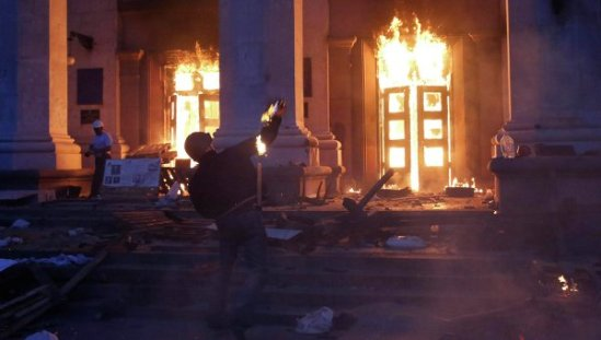 Radicals Throw Molotov Cocktails to the House of Trade Unions