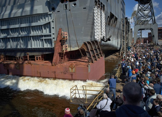 Launching the stern section of a Mistral-class amphibious assault ship at the Baltic Shipyard in St. Petersburg. The ship will be christened the Sevastopol. (RIA Novosti/Alexei Danichev)