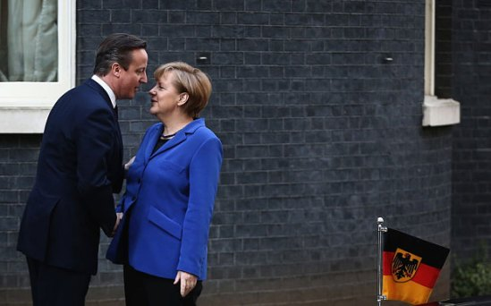 Fond gazes: Angela Merkel and David Cameron in February