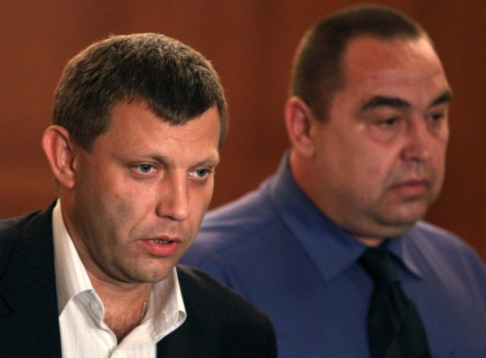 Rebel election officials said that Aleksandr Zakharchenko, left, had won in Donetsk  and that Igor Plotnitsky had won in Luhansk. Associated Press