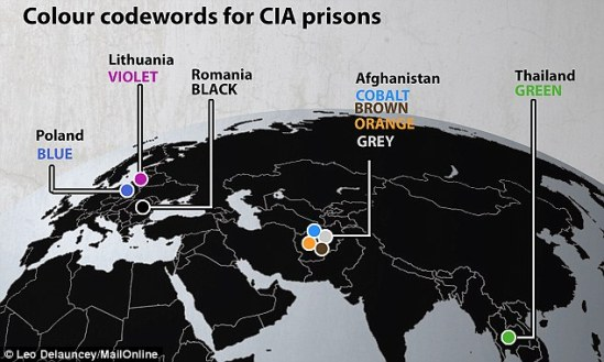 Global: At its height, the CIA program included secret prisons in countries including Poland, Afghanistan, Thailand, Romania and Lithuania - locations that are referred to only by color-themed codes in the report