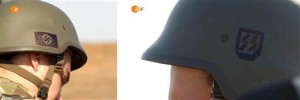Nazi symbols on helmets worn by members of Ukraine's Azov battalion.
