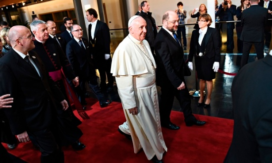 Pope Francis leaves the European parliament in Strasbourg