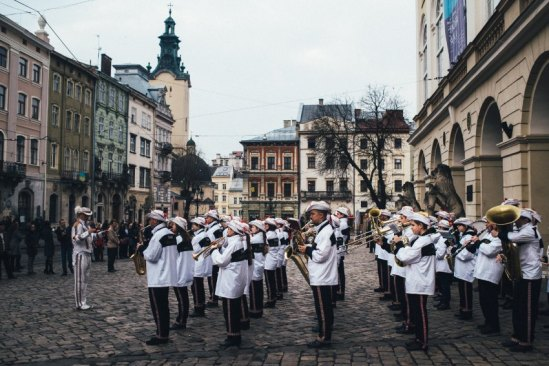 Orchestre on the Market Square during the ceremonial raising of flag of Ukraine.